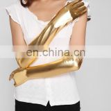 Beauty's Love Women Sexy Gothic Gloves Long Gloves Five Fingers Faux Leather Sexy Gold Silver Wet Look Sexy Latex PVC Gloves