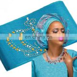Unique with stones Head African SEGO head gele Wrapper Scarf 8.6 meters length Hot Sale s170605002