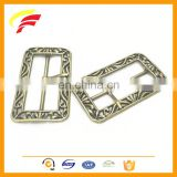 metal vintage square shape pin buckle antique style tri-glide H belt buckle