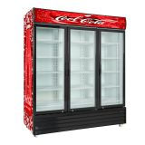 Transparent Swing 3 Glass Door Commercial Refrigerator Large Size Drinks Display Fridge