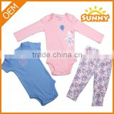 Lovely Baby Girl Caters Style 100% Cotton 3pc Baby Girl Clothes Set