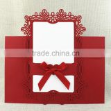 Wholesale Vintage Red with Ribbon Laser Cut Wedding Invitation Card                                                                         Quality Choice