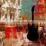 Dafen Wholesale Factory Price Good Quality Hand Paint Music Instrument Abstract Guitar Canvas Oil Painting for Club Decoration