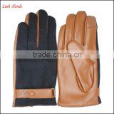 Men' new style Black woolen and brown leather stitch touch screen gloves with buckle