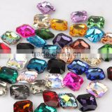AAA Quality Colorful Wholesales Point Back Loose Square Octagon Shapes Crystal Glass Beads for Jewelry Cloth Decorating Cheap