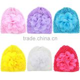 Hot-sales Baby large flower crochet Beanie hat Infant crochet knitted toddlers New Children crochet baby hat FH-199