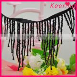 wholesale black beaded decorative tassel fringe for garment WTP-1281                                                                         Quality Choice