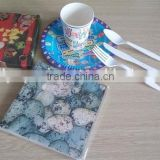 Elegant high quality decoupage Cutlery paper plate paper napkins color printed by customer