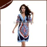 Top selling Summer Women V-Neck Printed Dress Sexy Beach Dress/