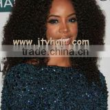"Hot Beauty 20"" #1 Jet Black, Afro Curl, Malaysian silk top aaaaa human hair full lace wig"