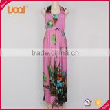 Ladies Pink Fallen Maxi Dresses Long Dresses Boho Summer Beach Dress                                                                         Quality Choice