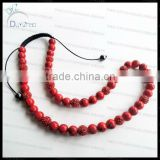 Fashion red turquoise bead shamballa necklace