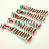 Green White Red Chevron Hair Band Fold Over Elastic Hair Tie Wholesale For Christmas