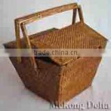 Woven Bamboo and Rattan Picnic Basket