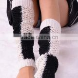 Plaid Knitted Leg Warmers,Hollow Out Boot Cuff, Long Knitted Boot Socks,Boot Topper Boot Socks