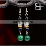 Simple Style Women's Long Dangle Earrings Vintage Brass Green Black Stone