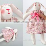 "Fabric handmade cotton doll ""Hare"" in pink dress"