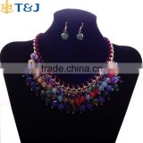 >>>2016 fashion women lady Bohemian style choker Necklace colorful beads collar Necklace earring jewelry sets/