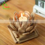 2016 Unique Cheap Artificial handmade Wooden Glass Bubble Lotus Candle Holder