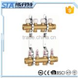 ART.5001 Manufacturer standard 4 ways oil water separator underfloor heating system 10bar brass intake manifold with flowmeter