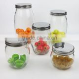 Clear Glass Food Storage Jar with Metal Screw Cover/Glass Canister with Lid