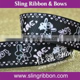 1 Inch Black Grosgrain Ribbon With Cute Love Printing