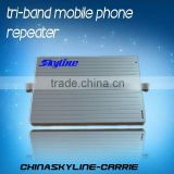 Hot sale!! tri band cell phone mobile signal repeater/booster/amplifier home gsm signal booster