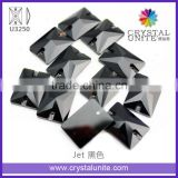 Jet Rectangle Flat Back Sew on Garment Stones for wholesale