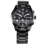 CURREN Army Black Steel Date Display White Dial Quartz Sport Men's Analog Wrist Watch