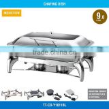 2017 New Model Commerical Glass Cover Hinged Lid Chafing Dish