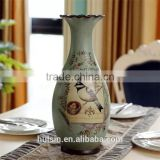 High quality Classical Rural Bird Ceramic Table Vase With Hand Paint