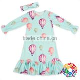 Romantic Multicolour Hot Air Balloon Long Cotton Frocks Baby Girl Party Dress Children Fancy Frock Designs For Girls
