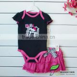 girls black pink princess rompers+skirts clothing sets baby outfits children's suits