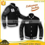 Customize Black Baseball Team Bomber Silk Quilted Wool Puffer Varsity Letterman Jacket Leather Sleeves cheap Wholesale for men