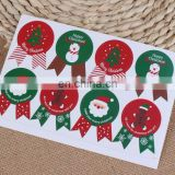 Hot Sale Badge Shape Red And Green Christmas Box Bag Label Baking Bag Sealing Sticker Baby Shower Gift Decoration Craft Packing