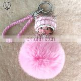 Beautiful Diamond Monchhchi Keyring Cute Kiki Key Chain Fancy Design Rex Rabbit Fur Ball Pendant