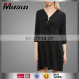 Maternity black zipper front shirt dress ladies front zipper casual dress formal maternity dresses