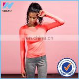 Yihao Trade Assurance Woman Custom Solid Plain Color Long Sleeve Sport Gym Wear T shirt shirts 2015
