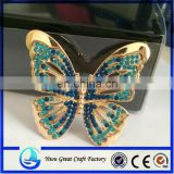 Metal butterfly rhinestone brooch