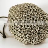 Large Size Stainless Steel Chainmail Storage Bag, Wine Bottle Holder Chianmail Bag