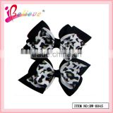 The newest design baby hair accessories leopard print pattern solid double layers ribbon bow barrette hair clip (DW--0045)