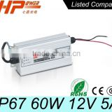Manufacturer CE RoHS constant voltage single output AC DC switching mode CCTV IP 67 12A 5V 60W power supply units