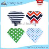 WZ-MS-1915 super soft organic cotton baby bandana bibs with snaps