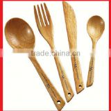 Dinner Wooden or Bamboo Cutlery set engraved with Custom Laser Logo