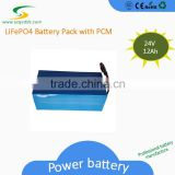 High Quality 100%DOD Rechargeable Electric Bike LiFePo4 24V Solar Battery Pack