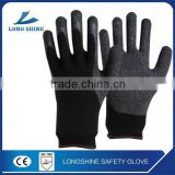10G Black Poly/Cotton Liner with High Quality Natural Latex Coated Working Gloves