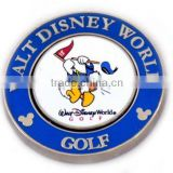 Mickey play golf use brass hard enamel metal golf ball marker with hat clip set