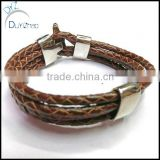 stainless steel Braided Leather Cord Bracelet for men