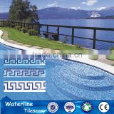 Tile for swimming pool blue decorative waterline border