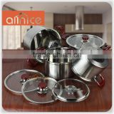 Italy Style best quality 8pcs glass lid stainless steel cookware kitchenware /parini cookware